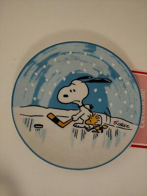 "NIB Peanuts SNOOPY & Woodstock ""The Puck Stops Here"" Collector Plate 1983 6.5"""