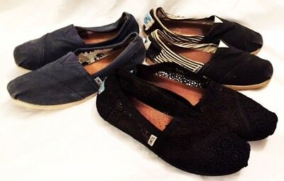 Toms Shoes Womens Size 9 LOT 3 PAIR Toms Classic Shoes Slip On Canvas Shoes