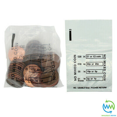 50 x Plastic COIN BAGS No Mixed Coins MONEY BANK Retail CHANGE Denominated Bag