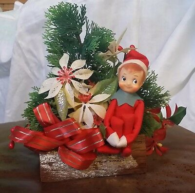 Vtg 50s 60s PIXIE ELF KNEE HUGGER JAPAN Christmas Centerpiece Log Poinsettias