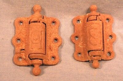 2 VICTORIAN CAST IRON DECORATIVE SCREEN DOOR HINGES - As Found in Old House