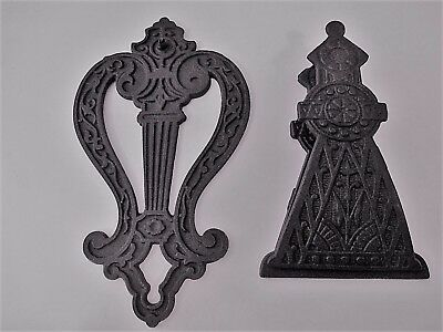 Vintage Cast Iron Paper Clip 1880's eastlake style ornate spring-load antique