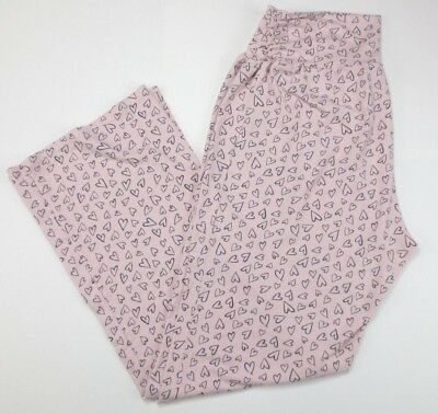 Bump In The Night Pale Pink Heart Design Maternity Sleep Pants Size Large