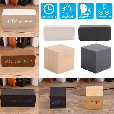 Electronic Cube/Rectangle Digital Wooden LED Table Alarm Clock Sounds Control GL