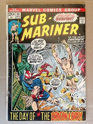 The Sub-Mariner #53 (1972) Marvel  Sunfire App! Affordable Copy! PRICED TO SELL!