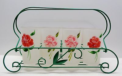 """8 Vintage Frosted 4 7/8"""" HANDPAINTED ROSE Tumblers Glasses & GREEN Rack Carrier"""