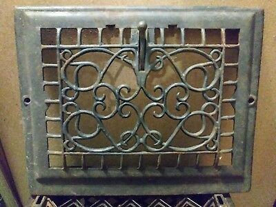 Antique cast iron victorian style heat vent grate 14 1/4in x 11 1/2in