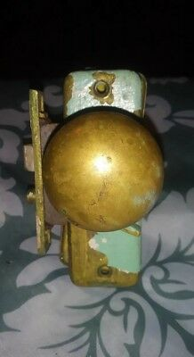 Antique Vintage brass door knob set. Brass door latch.
