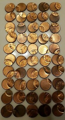 Roll Of 50 Off Center Lincoln Cents Mint Error Coins
