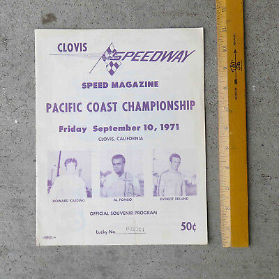 Original Sept 1971 Clovis  Ca Speedway  Pacific Coast Championship Race Program