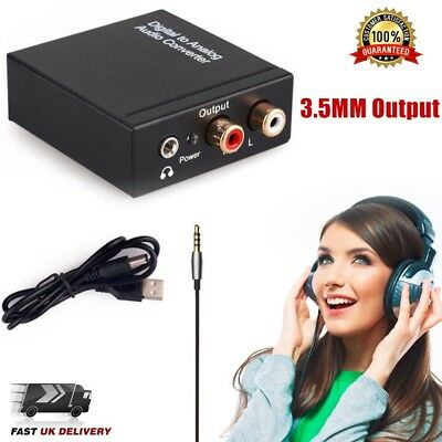 Digital Optical Coax Coaxial Toslink to Analogue Audio Converter Adapter RCA R/L