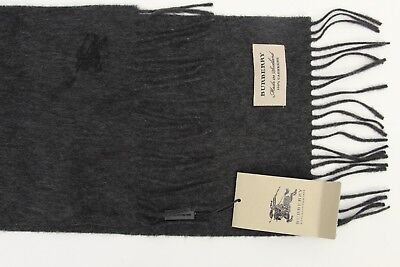 New! Burberry Classic Logo Charcoal Black / Gray Scarf %100 Cashmere  20X127