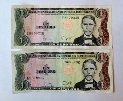 Dominican Republic 1 peso x 2 pieces banknote lot RUNNING S/N!!!!!!!!!!!!