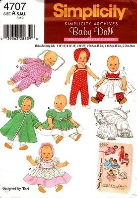Simplicity Sewing Pattern 4707 Baby Doll Clothes S, M, L New