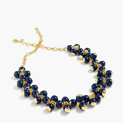 J.Crew Blue Faux Pearl Cluster Gold Tone Chain Statement Necklace NWOT IN POUCH