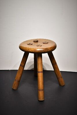 Antique Oak Milking Stool Round With Four Mortise Legs - Waxed