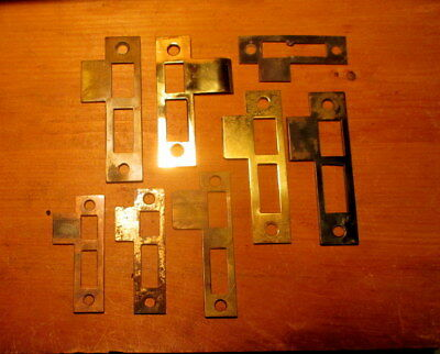 Lot of 8 Old Brass Mortise Lock Strike Plates Interior Exterior Door Hardware