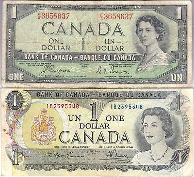 Canada.Canadian Currency, Paper Money,Two Banknote One Dollar 1954, 1973