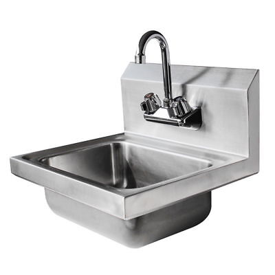 "17"" Wall Mount NSF Hand Wash Sink Commercial Restaurant Stainless Steel US POST"
