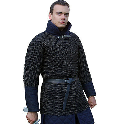 Chainmail Shirt Chain-Mail Armor Chainmail Haubergeon Butted Blackend M Size