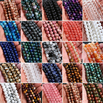 Hot Natural Gemstone Round Spacer Loose Beads 6mm 8mm 10mm Assorted Stones