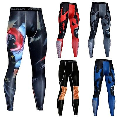 AU Men Athletic Compression Long Pants Workout Dri-fit Base Layer Running Tights