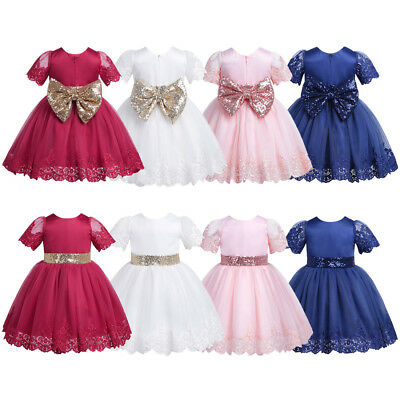 Toddler Baby Girls Princess Tutu Dress Pageant Wedding Birthday Party Floral Bow