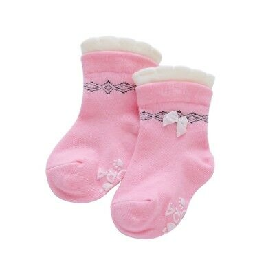 Infant Baby Kids Girls Non-slip Ankle Socks Knee High Toddler Ruffle Pink Socks