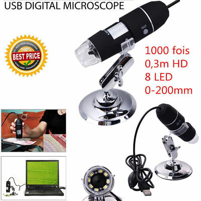 2MP 1000X 8 LED USB Digital Microscope Endoscope Zoom Camera Magnifier+Stand