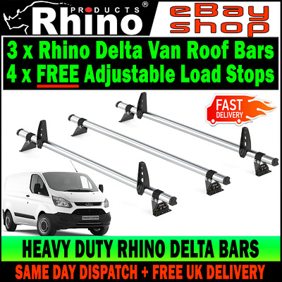Std Roof 2013 on Rhino Delta 2 Bar Roof Rack System for Ford Transit Custom