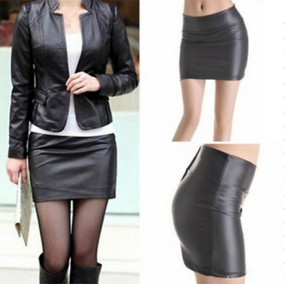 Elegant Women's Bodycon Mini Skirt Faux Leather Zip High Waist Mini Short Skirt