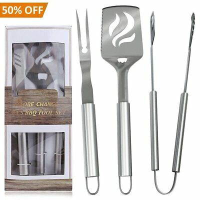 BBQ Grill Set Outdoor Grilling Barbecue Accessories (3 Piece) Stainless Steel