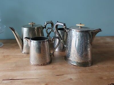 Vintage Silver Plated Teapot/ Coffee Pot/ Milk Jug/ Sugar Bowl by Atkinson Bros