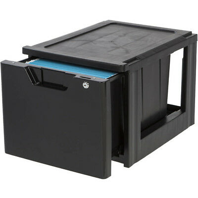 IRIS Letter Size Stacking File Drawer with Lock, Black Includes a lock and key