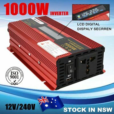 NEWEST Power Inverter 1000W 2000W 12V - 240V Camping Boat Caravan with LCD UN
