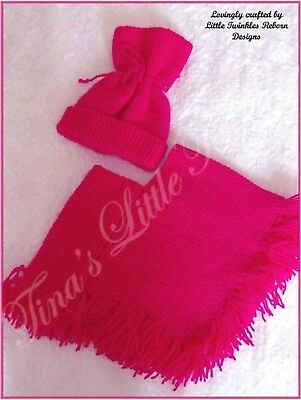 HAND-KNITTED PONCHO & TIED HAT~FUCHSIA PINK~0-3 months