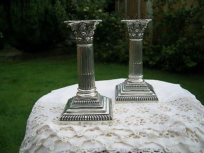 Victorian Pair Hallmarked Silver Corinthian Column Candlesticks William Hutton