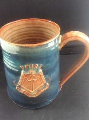 Vintage Handthrow Wold Pottery Studio Mug HMS Neptune Royal Navy Cruiser WW2
