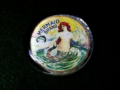 Vintage Style Fishing Line Mermaid Glass Paperweight Artist Handcrafted.