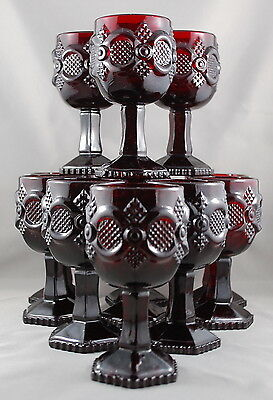 Vintage Avon Cape Cod Collection Cranberry Red Set of 12 Goblets