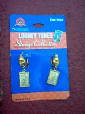 New Looney Tunes; Earrings :u.s.p.s. Tweety On The Ear Piece & Bugs On The Stamp