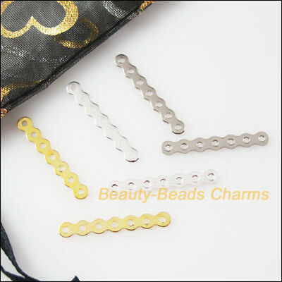 100Pcs 7-Strand Wave Spacer Bars Connectors Gold Dull Silver Plated 3.2x24mm