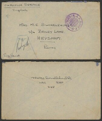 India - Field post cover to Heysham England - Censor 30711