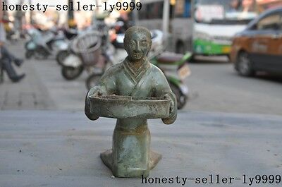 """6""""Old Chinese antique Pure bronze Sculpture people statue Candlestick"""