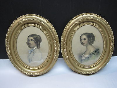 Antique Framed Engravings Hand Colored Beautiful Ladies  Original Frames/Glass