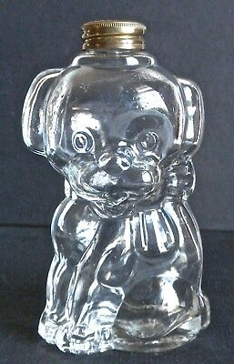Perfume Puppy Dog Glass -Manon Freres - Vintage Figural Bottle - Brass Lid