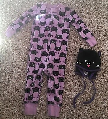 Hanna Anderson Cat Pajamas and Hat 80cm 18-24months