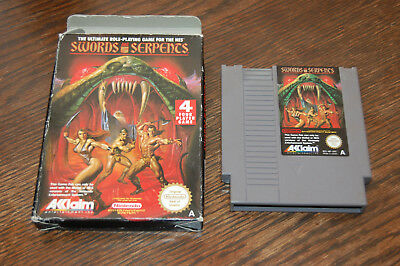 UK VERSION: Swords & Serpents NES Nintendo Game in Box UKV PAL-A