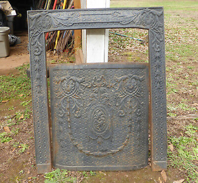 Antique Ornate Fireplace Surround and Coordinating Summer Cover