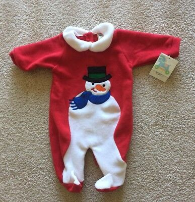 Infant 0-3 NEW Sleepwear TERRY Christmas Winter Red Snowman One Piece